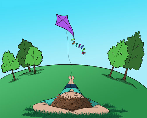 boy flying a kite with his toe