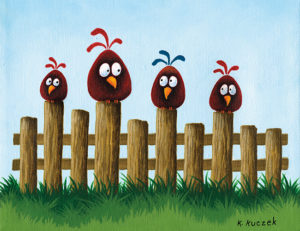 Silly Bird series - on the fence