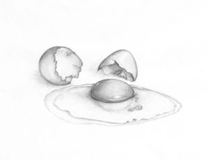 Pencil drawing - cracked egg