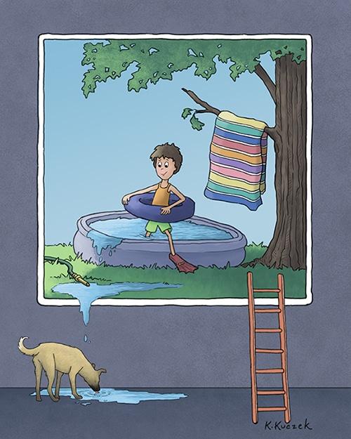 Boy in painting - pool