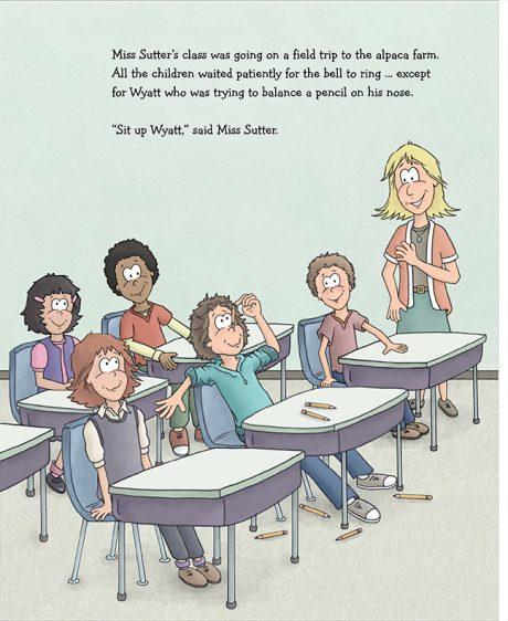 Alpaca Book Wyatt balances pencil pg 3