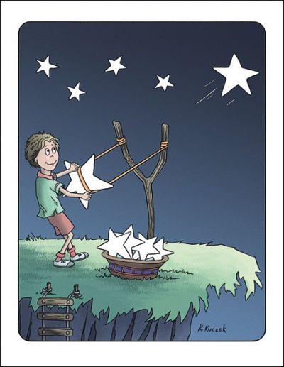 Shooting Stars Notecard